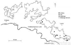 Localisation des parcelles sélectionnées en Forêt Domaniale d'Orléans